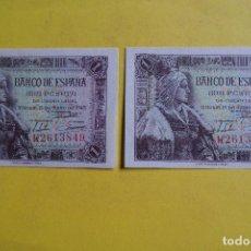 Billetes españoles: PAREJA BILLETES 1 UNA PESETA BANCO ESPAÑA MADRID 15 JUNIO 1945 ISABEL LA CATOLICA ABORIGEN. PLANCHA. Lote 113662775