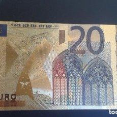 Billetes españoles: BILLETE DE 20 EUROS LAMINADO EN ORO 24KT - ESPAÑA EUROS. Lote 113672771