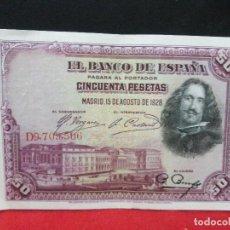 Billetes españoles: 50 PESETAS 15 AGOSTO 1928 VELAZQUEZ EBC. Lote 113874335