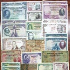 Billetes españoles: 30 BILLETES ESPAÑOLES: ALFONSO XIII, 2ª REPUBLICA, LOCALES Y DEL ESTADO ESPAÑOL. LOTE 0663. Lote 114925731