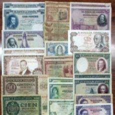 Billetes españoles: 30 BILLETES ESPAÑOLES: ALFONSO XIII, 2ª REPUBLICA Y DEL ESTADO ESPAÑOL. LOTE 0664. Lote 114928231