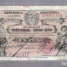 Billetes españoles: BILLETE. REPUBLICA ARGENTINA. BANCO PROVINCIAL DE ENTRE RIOS. UN PESO. 1888. VER. Lote 114978971