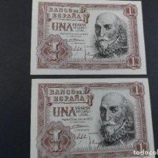 Billetes españoles: 2 BILLETES 1 PESETA BANCO DE ESPAÑA. AÑO 1953. CORRELATIVOS. SERIE W. ESTADO PLANCHA. Lote 115049087