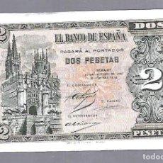 Billetes españoles: BILLETE. EL BANCO DE ESPAÑA. 2 PESETAS. BURGOS. 1937. PLANCHA. VER. SERIE B. Lote 115167227