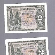 Billetes españoles: LOTE 3 BILLETES CORRELATIVOS. EL BANCO DE ESPAÑA. 2 PESETAS. BURGOS. 1938. PLANCHA. VER. SERIE H. Lote 115167879