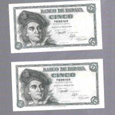 Billetes españoles: LOTE DE 2 BILLETES CORRELATIVOS. 5 PESETAS. ESPAÑA. MADRID. 1948. PLANCHA. SERIE D. VER. Lote 115170179
