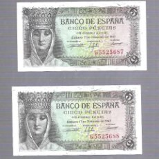 Billetes españoles: LOTE DE 2 BILLETES CORRELATIVOS. BANCO DE ESPAÑA. 5 PESETAS. 1943. SERIE G. PLANCHA. VER. Lote 115171011