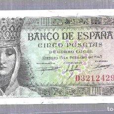 Billetes españoles: BILLETE. BANCO DE ESPAÑA. 5 PESETAS. 1943. SERIE D. PLANCHA. VER. Lote 115173843