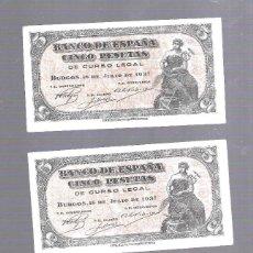 Billetes españoles: LOTE DE 3 BILLETE CORRELATIVOS. BANCO DE ESPAÑA. 5 PESETAS. 1937. BURGOS. SIN CIRCULAR. VER. SERIE B. Lote 164850764