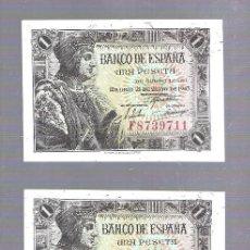 Billetes españoles: LOTE DE 3 BILLETE CORRELATIVOS. BANCO DE ESPAÑA. 1 PESETAS. 1943. SERIE F. PLANCHA. VER. Lote 115180583