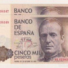 Billetes españoles: 5.000 PESETAS DE 1979 PAREJA SIN CIRCULAR. Lote 115252827