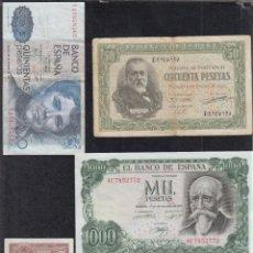 Billetes españoles: LOTE DE 5 BILLETES ESPAÑOLES. Lote 115277931