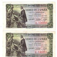 Billetes españoles: ESPAÑA 5 PESETAS 1945 CAPITULACIONES DE SANTA FE - CALIDAD S/C. Lote 116150687