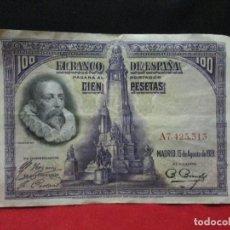 Billetes españoles: 100 PESETAS 15 DE AGOSTO 1928 SERIE A. Lote 116353095
