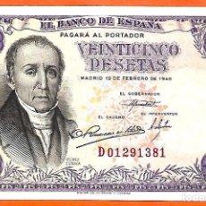 Billetes españoles: BILLETE 25 PESETAS -19 DE FEBRERO 1946 - FLOREZ ESTRADA-SIN CIRCULAR-PLANCHA. Lote 180860943