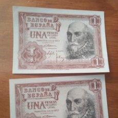 Billetes españoles: DOS BILLETES UNA PESETA 1953 SERIE 1B. PLANCHA. CORRELATIVOS. Lote 116611291