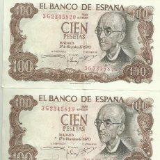 Billetes españoles: 3 BILLETES CORRELATIVOS DE 100 PESETAS 1970. SERIE 3G. Lote 189220822