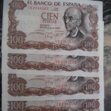 Billetes españoles: CINCO BILLETES 100 PTAS. MANUEL DE FALLA CORRELATIVOS.. Lote 117394251
