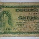 Billetes españoles: BILLETE CERTIFICADO DE PLATA CINCO 5 PESETAS DE CURSO LEGAL 1935 SIN SERIE. Lote 117470959