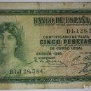 Billetes españoles: BILLETE CERTIFICADO DE PLATA CINCO 5 PESETAS DE CURSO LEGAL 1935 SERIE D. Lote 117471327