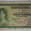 Billetes españoles: BILLETE CERTIFICADO DE PLATA CINCO 5 PESETAS DE CURSO LEGAL 1935 SERIE D. Lote 117471455