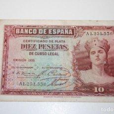 Billetes españoles: BILLETE DE DIEZ PESETAS. REPÚBLICA. 1935. SERIE A.. Lote 117680247