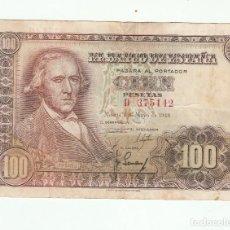 Billetes españoles: 100 PESETAS- 2 DE MAYO DE 1948. Lote 117870123