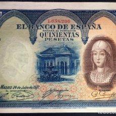 Billetes españoles: CMC 500 PESETAS 24 JULIO 1927 ISABEL I SIN CIRCULAR. Lote 119107651