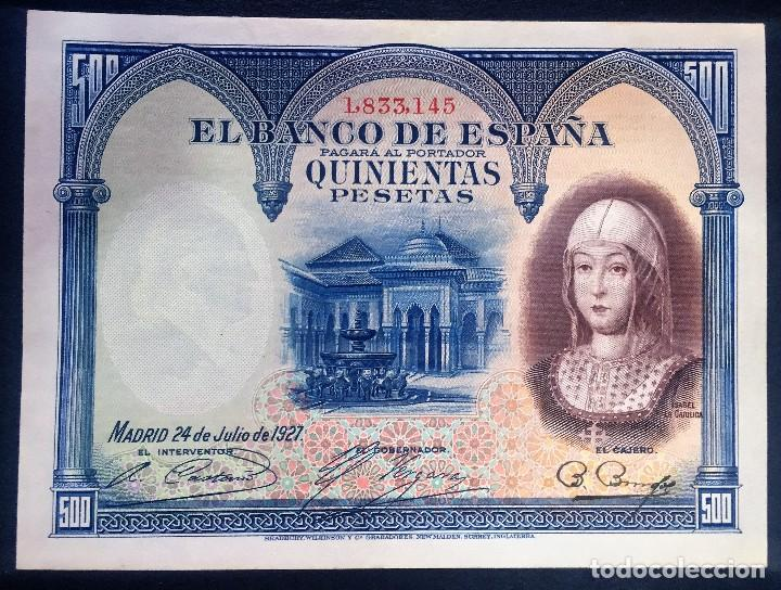 CMC 500 PESETAS 24 JULIO 1927 ISABEL I SC- (Numismática - Notafilia - Billetes Españoles)