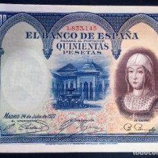 Billetes españoles: CMC 500 PESETAS 24 JULIO 1927 ISABEL I SC-. Lote 119107803