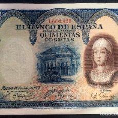 Billetes españoles: CMC 500 PESETAS 24 JULIO 1927 ISABEL I EBC+. Lote 119107887