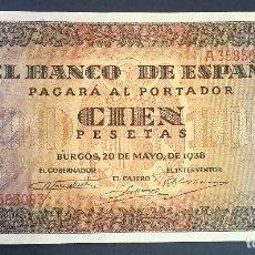 Billetes españoles: CMC 100 PESETAS 20 MAYO 1938 BURGOS SERIE A SIN CIRCULAR. Lote 119120911