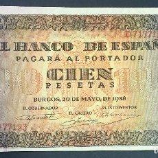 Billetes españoles: CMC 100 PESETAS 20 MAYO 1938 BURGOS SERIE D SIN CIRCULAR. Lote 119121075