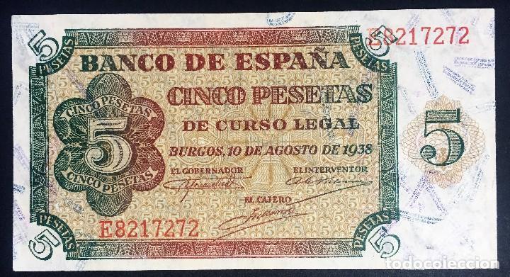 CMC 5 PESETAS 10 AGOSTO 1938 BURGOS SERIE E SIN CIRCULAR (Numismática - Notafilia - Billetes Españoles)