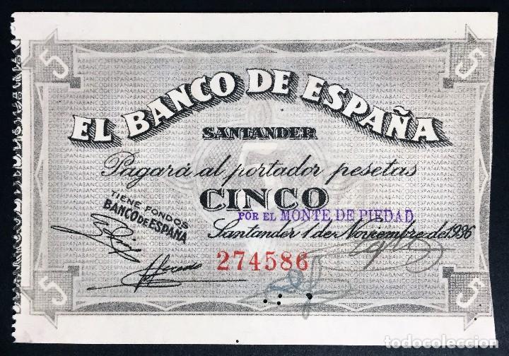 CMC 5 PESETAS 1 NOVIEMBRE 1936 BANCO DE ESPAÑA SANTANDER SC* (Numismática - Notafilia - Billetes Españoles)
