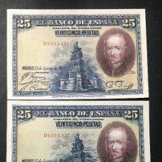 Billetes españoles: CMC 25 PESETAS 15 AGOSTO 1928 CALDERON DE LA BARCA SERIE D TRIO CORRELATIVO SIN CIRCULAR. Lote 119299167