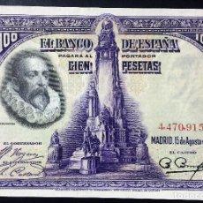 Billetes españoles: CMC 100 PESETAS 15 AGOSTO 1928 CERVANTES SIN SERIE SIN CIRCULAR . Lote 119301507