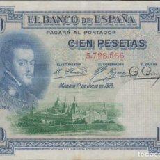 Billetes españoles: BILLETES ESPAÑOLES - ALFONSO XIII - 100 PESETAS 1925 - SIN SERIE - SELLO EN SECO G.P.- ED-B127 - MBC. Lote 119393739