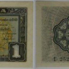 Billetes españoles: 1 PESETA DE 1940 DEL 1 DE SEPTIEMBRE DE LA CARAVELA, SERIE I, ÚLTIMA EMITIDA,SC/PLANCHA. Lote 120342179