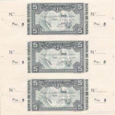 Billetes españoles: TRIO UNIDO BILLETE 5 PESETAS BANCO ESPAÑA EN BILBAO 1937 EMITIDO BANCO CENTRAL EUZKADI. GUERRA CIVIL. Lote 120598979
