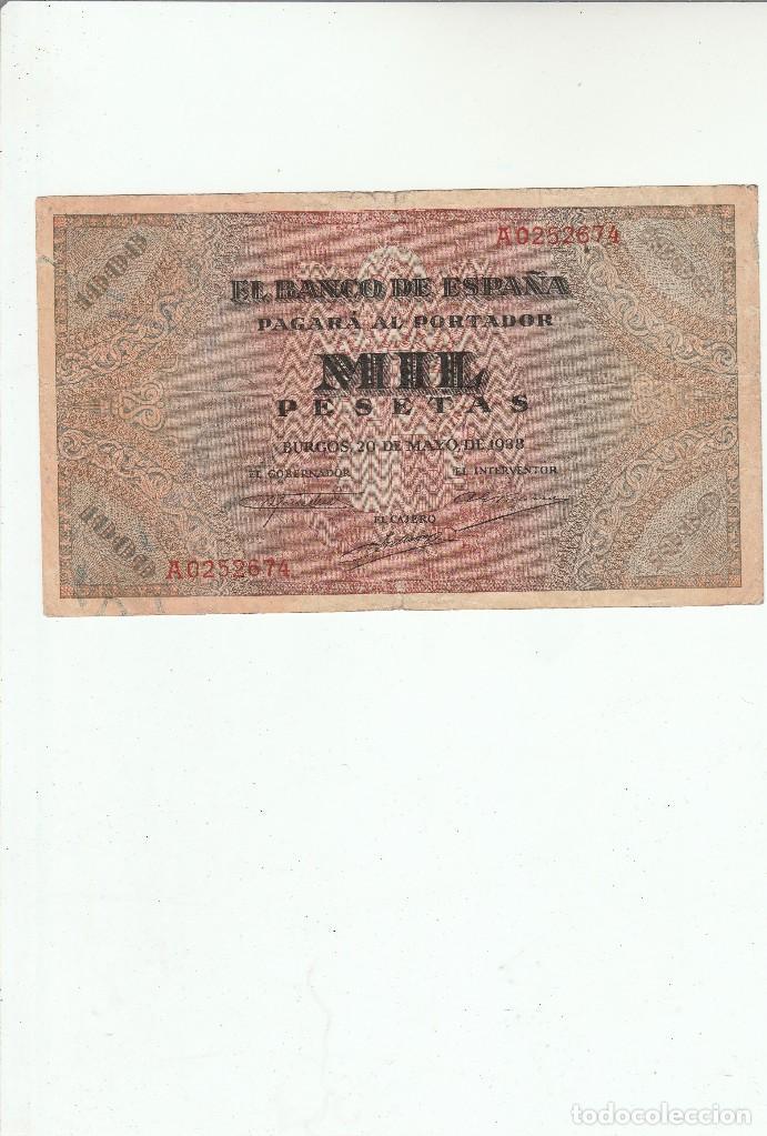 1000 PESETAS-BURGOS-20 DE MAYO DE 1938 (Numismática - Notafilia - Billetes Españoles)