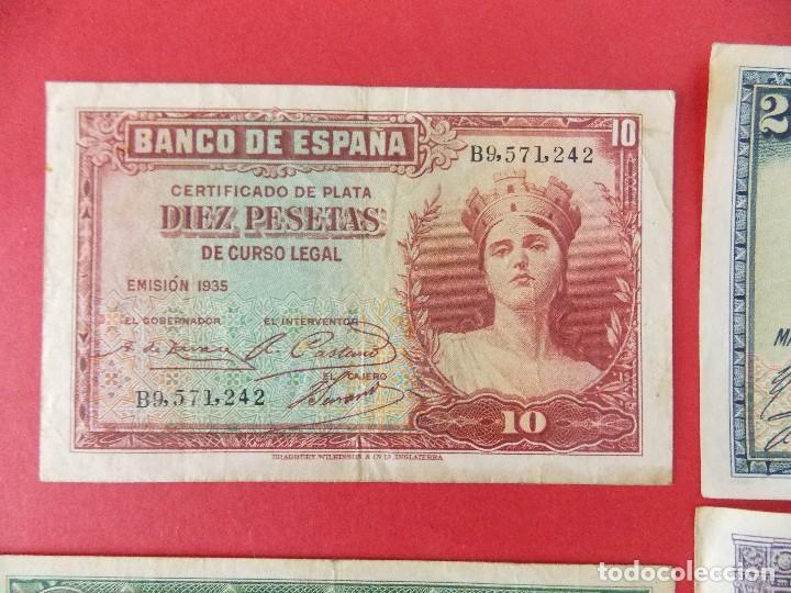 Billetes españoles: LOTE 6 BILLETES REPUBLICA ESPAÑOLA - 10 , 25, 50, 100 PESETAS - CALIDAD MBC - (VER FOTOS)... R-9230 - Foto 2 - 121338743