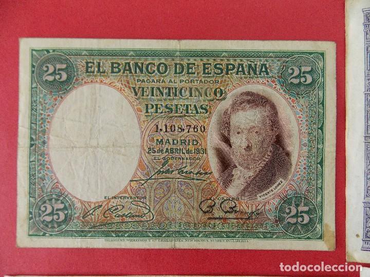 Billetes españoles: LOTE 6 BILLETES REPUBLICA ESPAÑOLA - 10 , 25, 50, 100 PESETAS - CALIDAD MBC - (VER FOTOS)... R-9230 - Foto 4 - 121338743