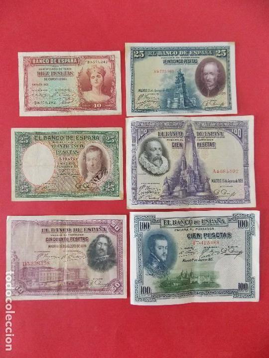 LOTE 6 BILLETES REPUBLICA ESPAÑOLA - 10 , 25, 50, 100 PESETAS - CALIDAD MBC - (VER FOTOS)... R-9230 (Numismática - Notafilia - Billetes Españoles)