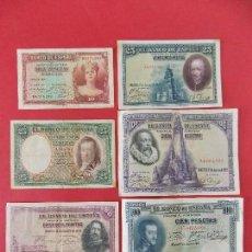 Billetes españoles: LOTE 6 BILLETES REPUBLICA ESPAÑOLA - 10 , 25, 50, 100 PESETAS - CALIDAD MBC - (VER FOTOS)... R-9230. Lote 121338743