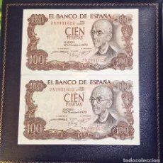 Billetes españoles: PAREJA DE BILLETES CORRELATIVOS ESPAÑA 100 PESETAS 1970- RIGUROSO ESTADO PLANCHA-. Lote 194311481