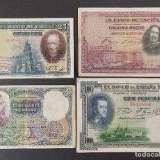 Billetes españoles: LOTE DE 4 BILLETES REPUBLICA ESPAÑOLA - CALIDAD MBC , VER 10 FOTOS.... R-9236. Lote 121431155