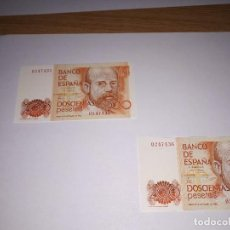 Billets espagnols: PAREJA BILLETES 200 PESETAS 1980 CLARIN. Lote 121585267