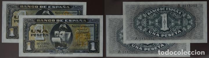 PAREJA CORRELATIVA DE 1 PESETA 1940 SEPTIEMBRE SERIE A, SIN CIRCULAR/PLANCHA (Numismática - Notafilia - Billetes Españoles)