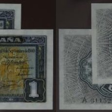 Billetes españoles: PAREJA CORRELATIVA DE 1 PESETA 1940 SEPTIEMBRE SERIE A, SIN CIRCULAR/PLANCHA. Lote 121625691